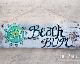 "30a beach sign, ""beach bum"", on recycled barn wood, jute rope hanging by sheilasmithdesigns©"