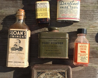 Vintage medicine bottles and containers