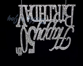 Large 50 Cake Topper Rhinestone SILVER  Crystal Covered Happy 50th Birthday Number