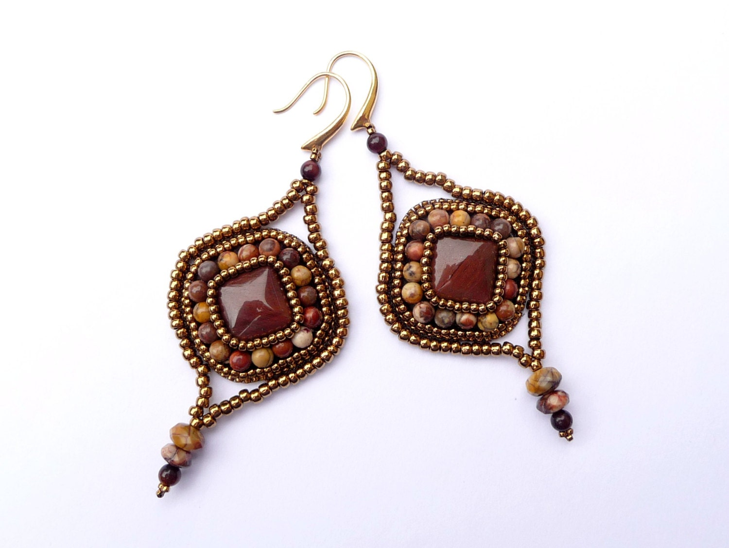 tiger eye bead embroidered arabesque earrings by