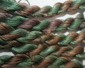233 Nazca hand dyed variegated stranded cotton, skein 8 metres, Fils a Soso. Cross Stitch thread, great colour for trees and foliage. Yarn