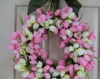 Tulip Wreath, Spring Wreath, Summer Wreath, Door Wreath, Wall Wreath