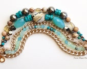 Gemstone Stardust Gold Chain Bracelet Citrine and Turquoise Blue Beads Hand Knotted with Earthy Picture Jasper