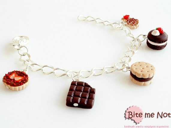 Mini Food Chocolate - Strawberry Assorted Sweets Bracelet, Miniature Sweet, Polymer clay Jewelry, Cute Jewelry,Kawaii Jewelry,Food Jewelry