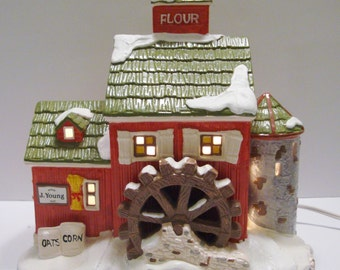 Dept 56 Snow Village J Young's Granary Light Up Building 1989 5149-7 Free Shipping