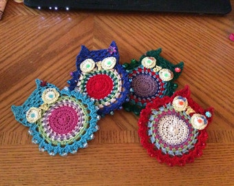 Crocheted owl coasters