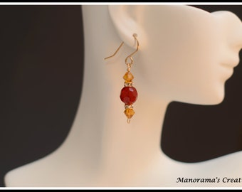 Ella Earrings - Yellow and Red Glass beads paired with Swarovski Rondelle Spacers, 14k Gold Fill Wire Earrings