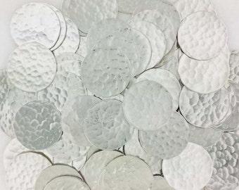 1 1/8 Inch 24 Gauge Sterling Silver Disc - HAMMERED_1 - 25 PCS
