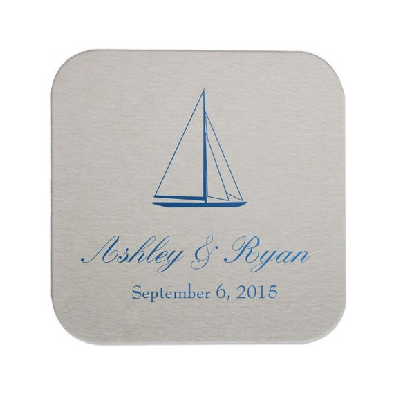 Nautical Wedding Coasters - bar coasters, personalized coasters, weddings, coasters, favors, bridal shower, nautical wedding, wedding favor