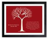 Love Art - Valentines Day Gift - Gift For Him - Husband - Boyfriend - Ruby Anniversary Gift - Wedding Tree Print - 40th Anniversary Gift  -