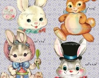 9 Vintage Easter Bunny Digital Clipart Transparent Png Images Instant Download