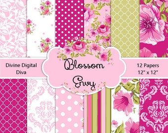 Luscious Pink Blossoms Digital Backgrounds Paper Pack   Instant Download
