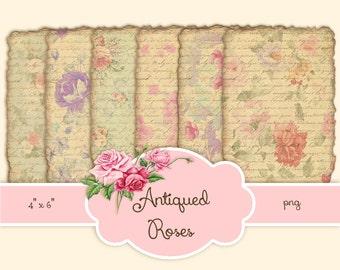 French Vintage Antiqued Roses Ephemera Digital Paper Printable Instant Download