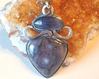 purple agate pendant necklace - artisan silver pendant - amethyst pendant necklace - agate necklace - OOAK necklace - purple pendant