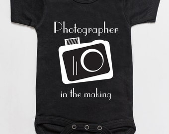 Photographer in the making baby onesie black