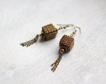 Miniature Cube Earrings, Minimalist Earrings, Copper and Antique Brass Cube Earrings, Brown Dangle Earrings, Beaded Dangle Earrings