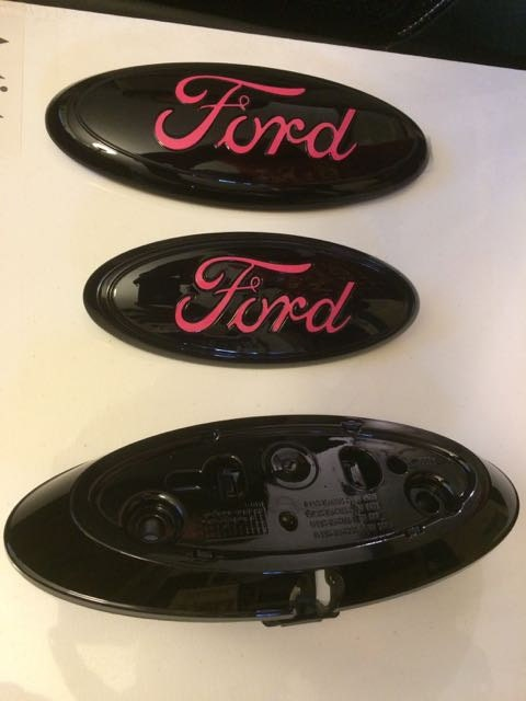 2009-2015 ford f-150 250 350 custom emblem setblack / pink