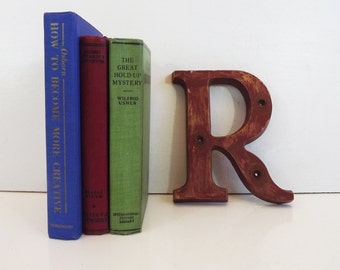 Vintage Red Rustic Salavaged Plastic Letter R - Home Decor - 7 Inches Rustic Plastic / Syroco Type - Shabby Chic - Alphabet Distressed Paint