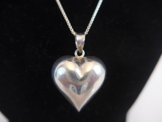 Vintage 925 Sterling Silver Puffy Heart Shaped Pendant