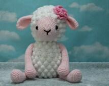 Crochet Lamb. Crochet Stuffed Animal. Pink.