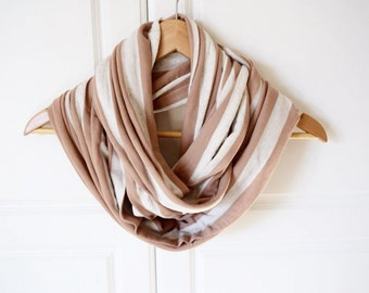 Infinity scarf, loop scarf- oatmeal, nude, beige white stripe,soft jersey, ready to ship, gifts for her, mom gift, girlfriend gift