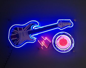 Real bespoke neon guitar sign, The WHO