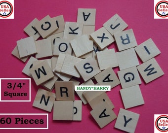 """120) Wooden Alphabet Letters 3/4"""" Square Wood Tiles Similar To Scrabble Tiles But No Numbers DIY Crafts Projects Jewelry Findings"""