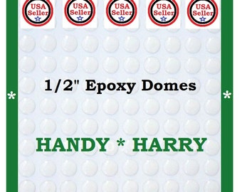 Count (50) 1/2 inch Crystal Clear Epoxy Adhesive Circle 1/2 inch Bottlecap Stickers Dome Dots Bubble lens