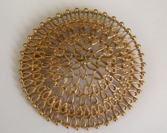 Vintage SARAH COV. Brooch.  Signed Abstract Round Ornate Brooch.