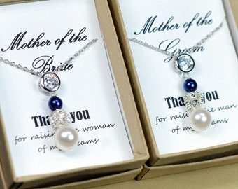 2 necklaces : 2 Pearl Necklaces, Mother of the Groom Gift, Mother of the Bride Gift, Mother in law ,Wedding Necklace, Gift for Mom