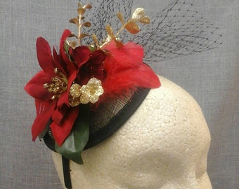 Festive  Holiday  Fascinator in Black and Red