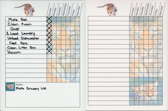 weekly chore chart templates