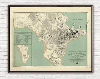 Old Map of Dakar Senegal 1925 Vintage map