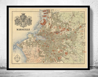 Old Map of Marseille  France 1894