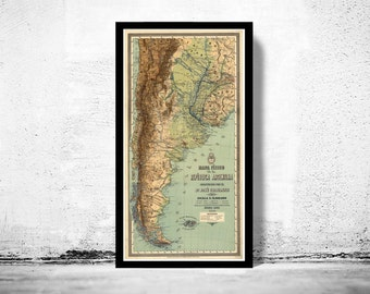 Old Map Argentina South America Antique map 1890