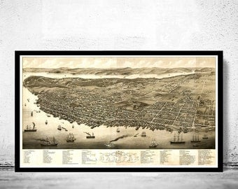 Vintage Panoramic View of Halifax, Nova Scotia Canada, Aerial view 1879