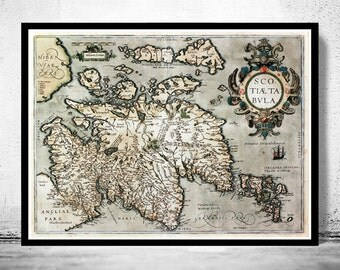 Old Map of Scotland 1602 Sea Monster Vintage