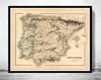 Old Map of Spain 1860