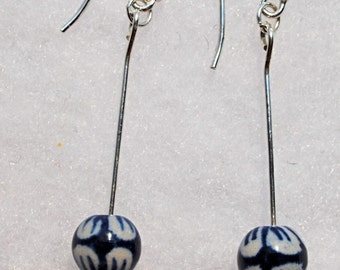 Blue ceramic & pearl Earrings