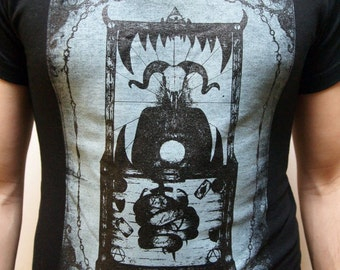LIMITED EDITION The Devil Tarot Card unique macabre Men's T-Shirt Hand Screen Printed Hare Raising Designs