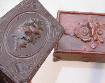 2PCS French antique 1880S napoleon III wooden jewelry box ornate ormolu  rose locket Letter holder  hand carved flower