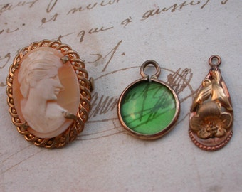 3pcs French antique 18k yellow gold woman portrait Hand-Carved Shell Cameo brooch flower Pendant emerald greenn glass gold frame . pendant
