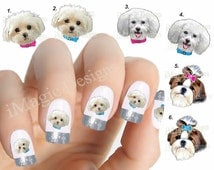 Nail Decals, Water Slide Nail Transfers, Nail Stickers, Dogs Photo Shoot - Maltese Puppy, Bichon Frise or Shih Tzu