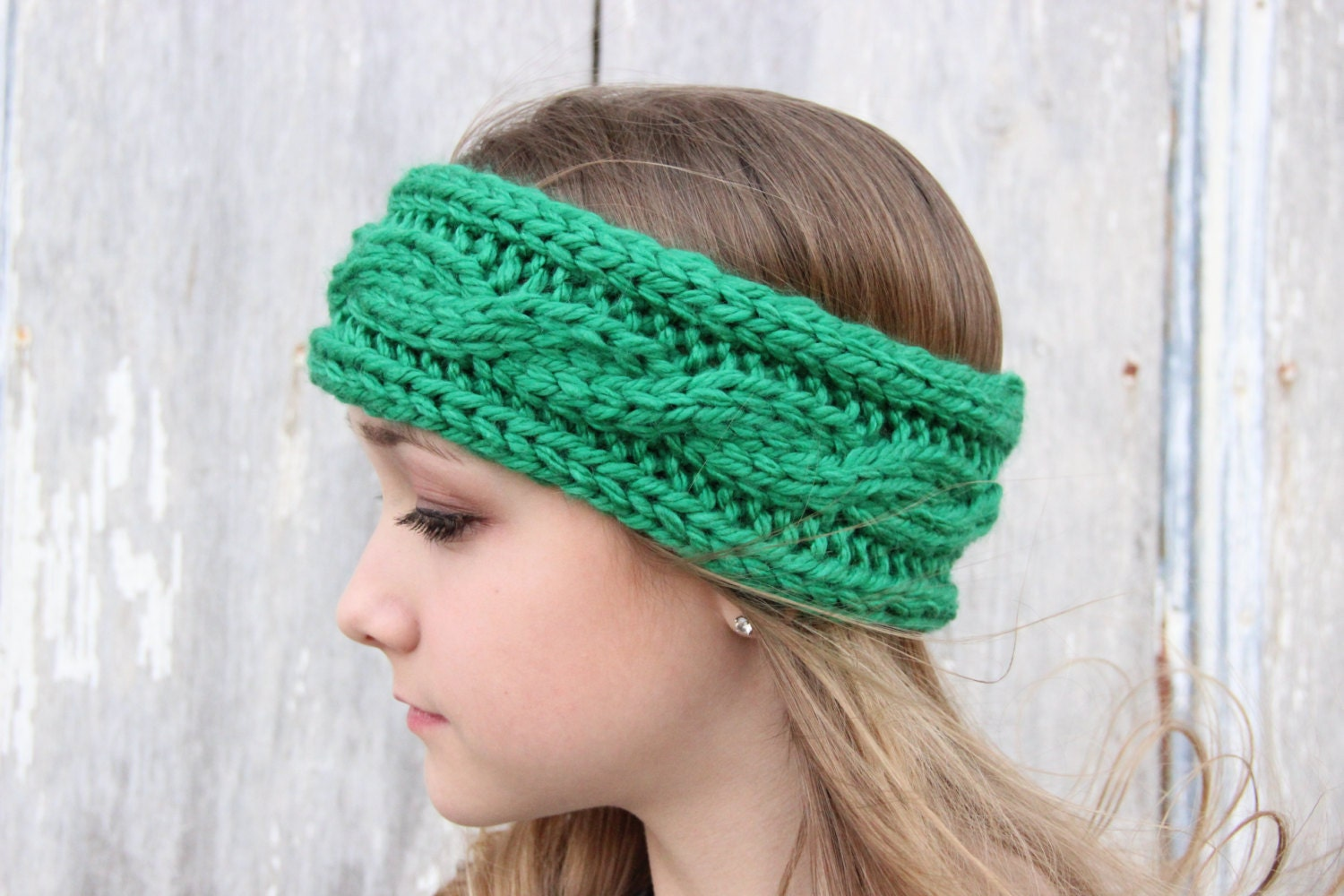 How To Knit Color Patterns : Headband Cable Knit Knitted Headband Winter by SerbyStitches