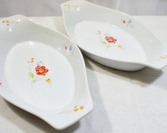 "Pair Hearthside Bake N Serve Poppy 12"" Au Gratin Casserole China Made in Japan Dish Set of 2"