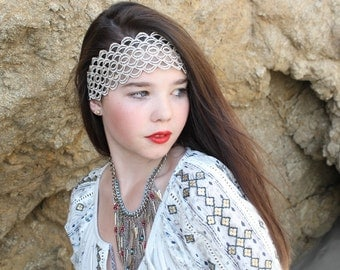 Lace   headband  with elastic back  great accessory for your outfit