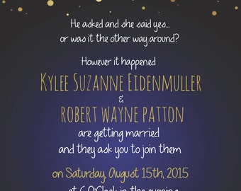 Blue and gold starry confetti wedding invitation
