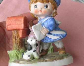 Vintage Inarco Little Boy Mailing Letter With Puppy Figurine