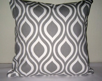 Nicole Grey and  White Pillow Cover. Grey  and white print pillow cover. Modern Pillow Cover.