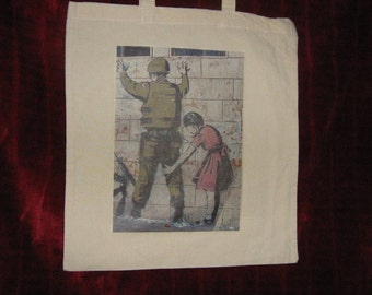 Banksy canvas shopper